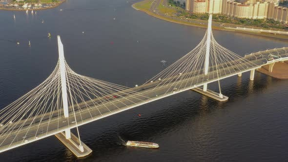 Thumbnail for Aerial Around View of Cable-stayed Bridge