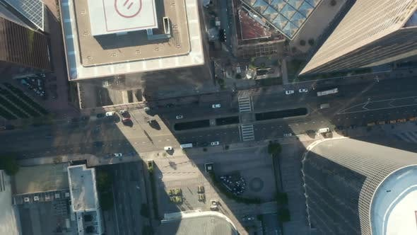 Cover Image for AERIAL: Slow Uplifting Birds Eye View Flight Over Downtown Los Angeles California Grand Avenue in