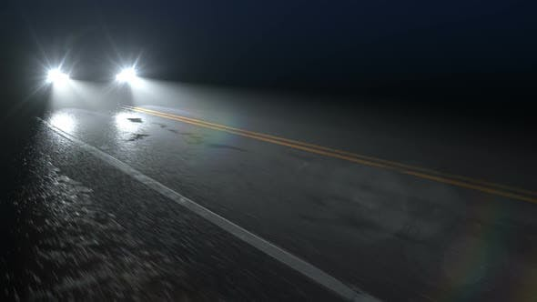 Cover Image for Car Drives Along Country Night Wet Road with Headlights Turned On, Seamless Loop