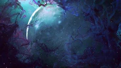Nebula Blue Cloud with Planet