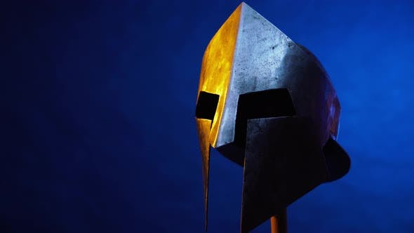 Thumbnail for Old Spartan Helmet Isolated on Blue.