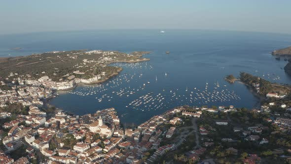 Thumbnail for Drone Shot of Beautiful Bay and Old Town Cadaques