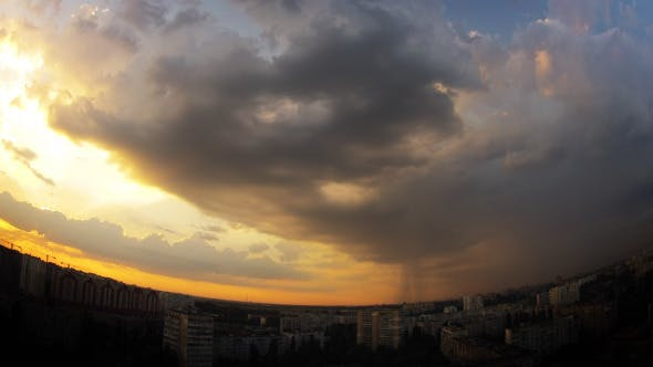 Thumbnail for Dramatic Multi-Colored Sky Over The City
