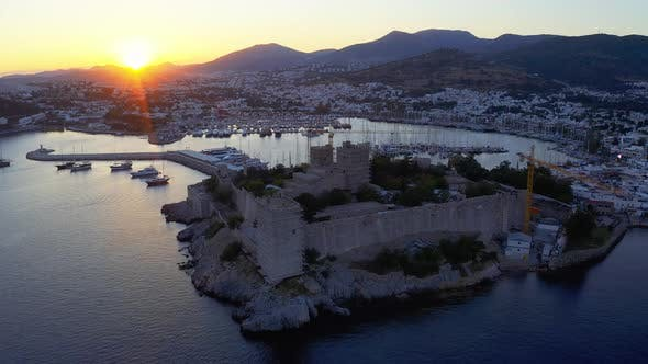 Thumbnail for Anceint Castle of St. Peter at the Sunset. Yachts Moored in the Bay of Resort Town in Mediterranean