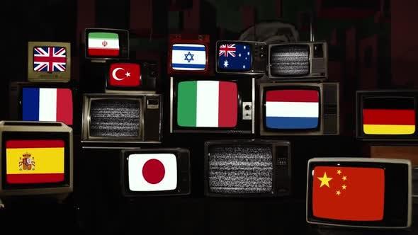 Flags of the World and Coronavirus on Retro TVs.