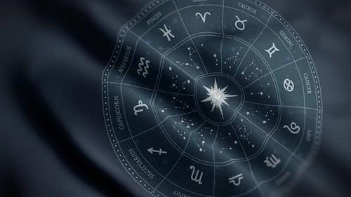 Astrology Zodiac Signs Circle Flag Close Up HD