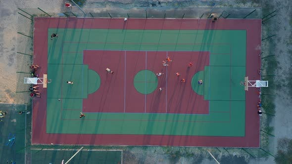 Thumbnail for Aerial View. Park with a Basketball Field and a Training Platform. Sports Area