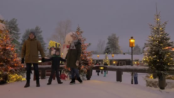 Cover Image for Mom, Dad and Son in the Park Decorated with Christmas Lights
