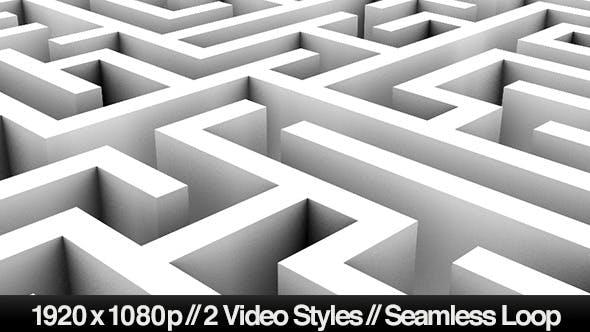 Endlose Schleife eines Labyrinths oder Labyrinths - 2 Styles