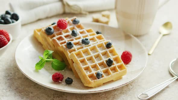 Thumbnail for Waffles and Berries on Plate