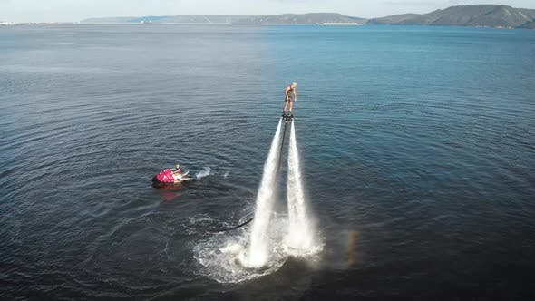 Thumbnail for Confident Person Practicing Turning on Flyboard