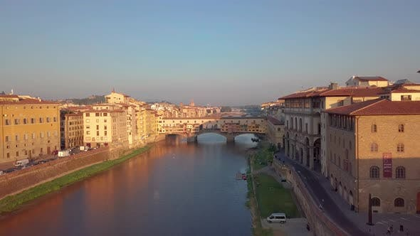 Thumbnail for Florence Ponte Vecchio Bridge and City Skyline in Italy