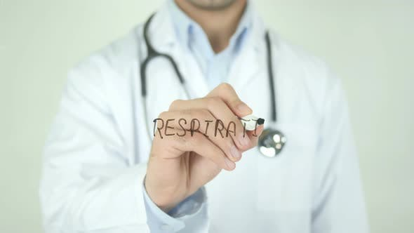 Thumbnail for Respiration, Doctor Writing on Transparent Screen