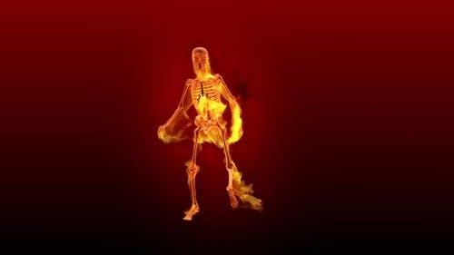 Fiery 3D Skeleton Hot Dance  Looped on Red