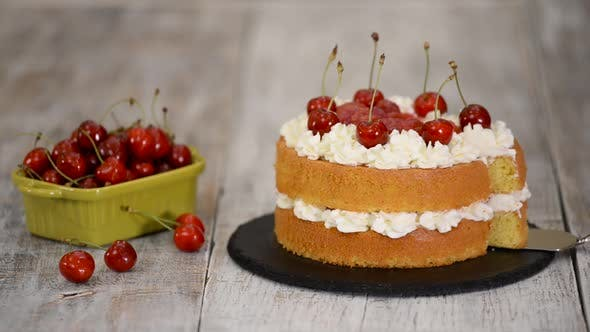 Thumbnail for The Naked Cherry Cake With Vanilla Cream.