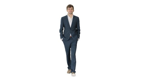 Thumbnail for Handsome business man walking forward on white background.