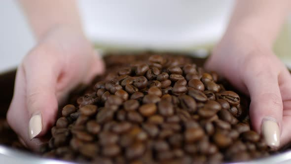 Thumbnail for Unrecognizable Woman Taking Handful of Fresh Coffee Beans