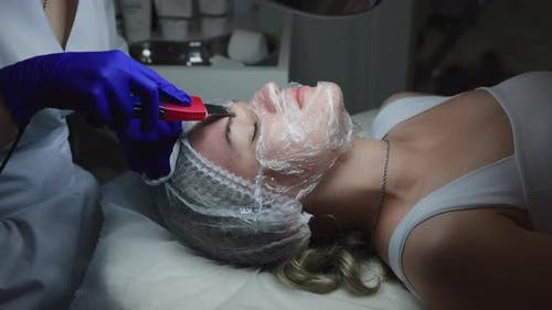 Ultrasonic Face Cleaning in a Beauty Clinic