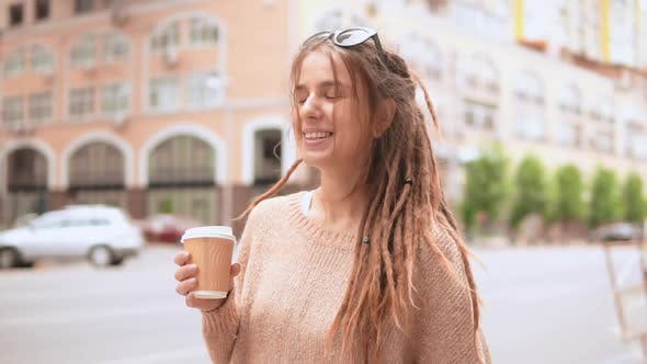 Thumbnail for Portrait Hipster Girl in the Morning Outdoors