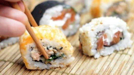 Thumbnail for Eating Japanese Sushi Rolls