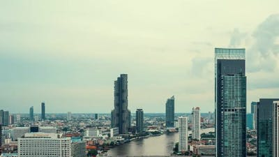 Time lapse cityscape and high-rise buildings in metropolis city center