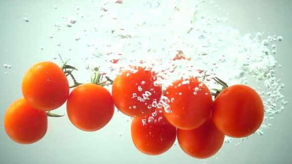 Thumbnail for The Falling Cherry Tomatoes in Water 13