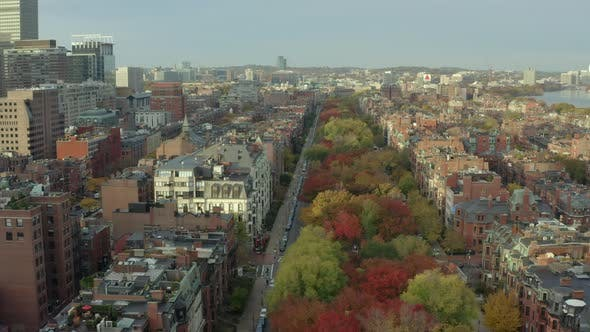 Flying over Commonwealth Ave in Boston's Back Bay