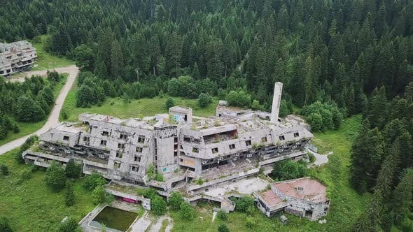 Thumbnail for Aerial View Of Ruins Of Luxurious Hotel On Olympic Sports Park Sarajevo V4
