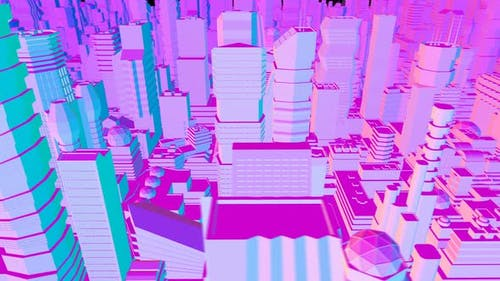 4K Lowpoly rainbow city