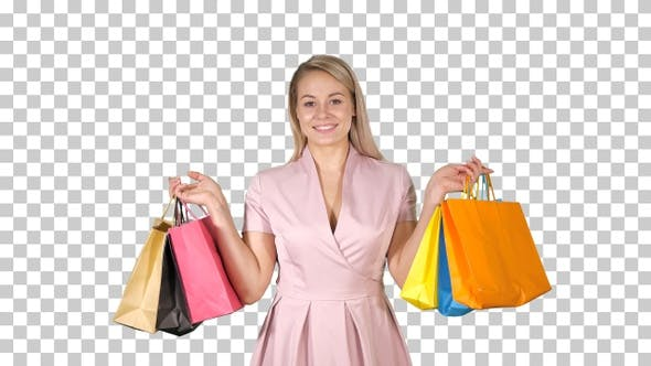 Thumbnail for Shopping woman happy smiling holding shopping, Alpha Channel