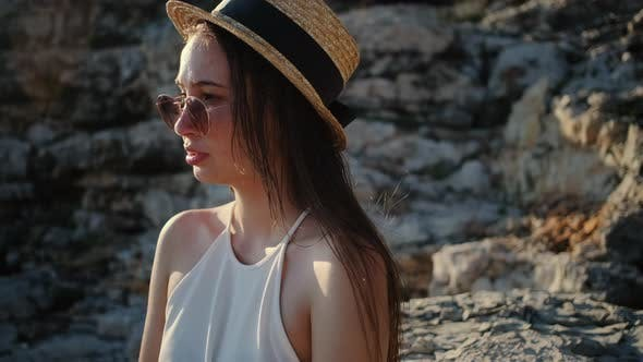 Girl in Straw Hat and Sunglasses Summer Portrait