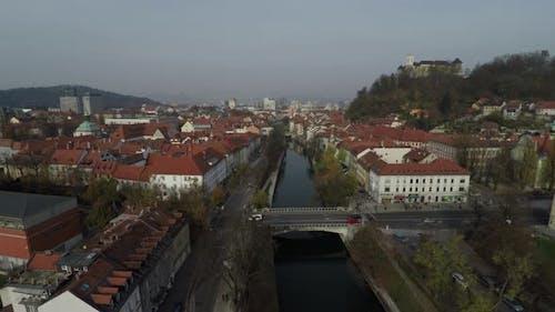 Aerial shot of Ljubljanica River and Dragon Bridge