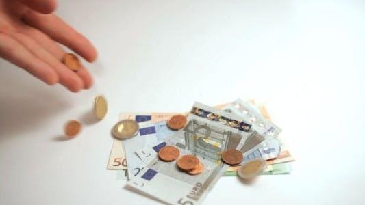 Thumbnail for Euro Money Thrown on White