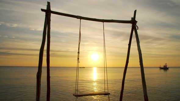 Thumbnail for Tropical Beach with a Swing at Sunset