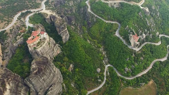 Aerial view of Kalabaka and Rousanou monasteries in Meteora complex, Greece