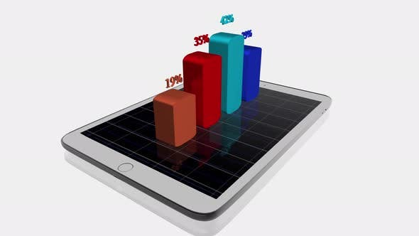 Thumbnail for Digital Tablet Screen Showing Financial Charts Diagrams Sales Profits