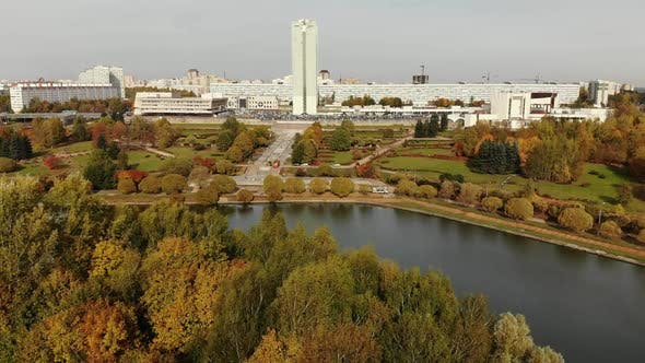 Thumbnail for Pond in Victory Park in Autumn in Zelenograd of Moscow, Russia