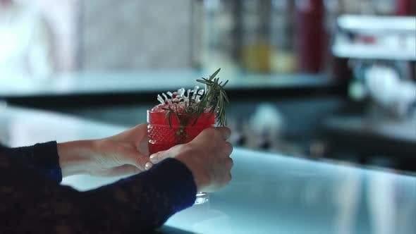 Thumbnail for Female Hands Holding Red Cocktail in the Bar