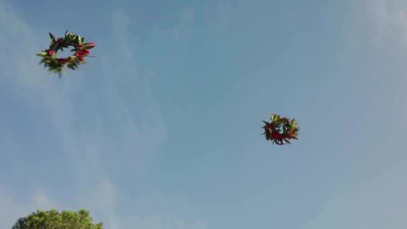 Graduation Wreaths Flying in the Sky.