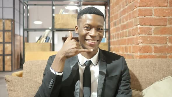Cover Image for Call me Concept, Black Businessman Gesture