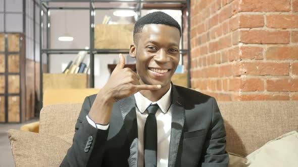 Thumbnail for Call me Concept, Black Businessman Gesture