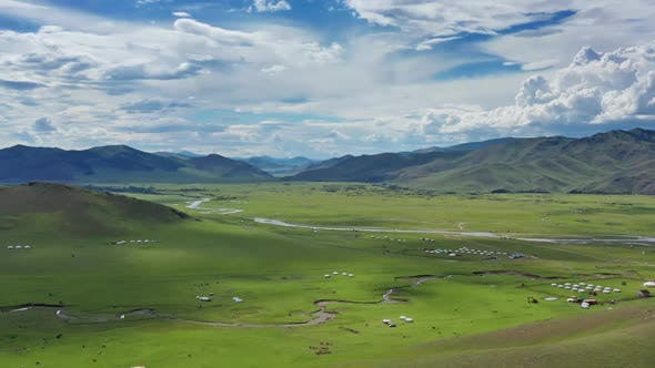 Aerial View of Yurts in Steppe in Mongolia