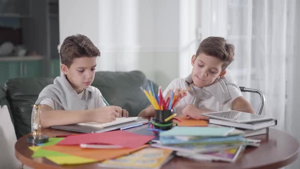 Thumbnail for Two Creative Caucasian Twin Brothers Sitting at the Table and Drawing with Colorful Pencils
