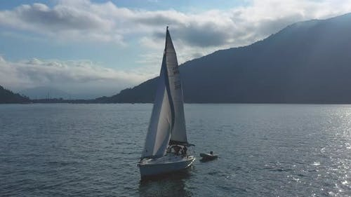 Drone Aerial video - Circling the sailboat