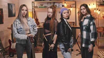 Portrait Of Cool All-Female Rock Band
