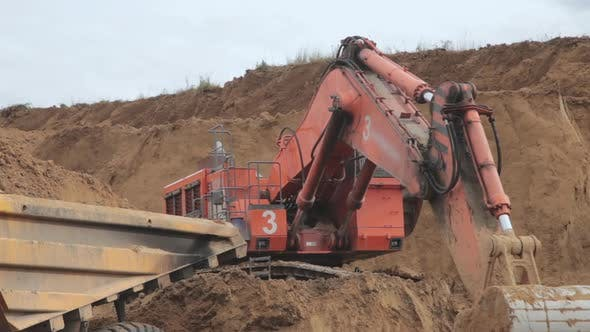 Thumbnail for Excavator Bucket Digs Coal