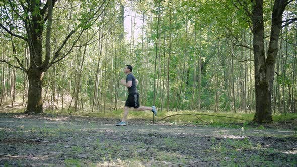Thumbnail for Fit Man Exercising Healthy Park Run Slow Motion