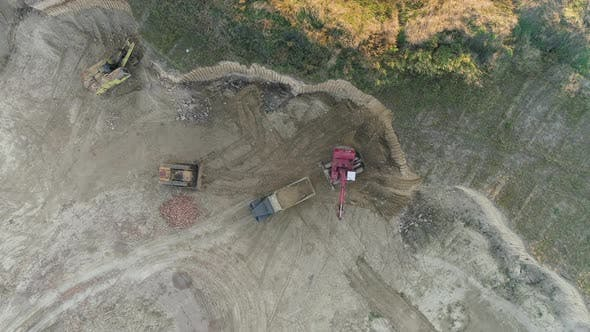 Thumbnail for Aerial of an excavator on construction site
