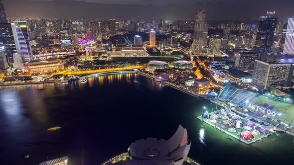 Thumbnail for Singapore Night Skyline Stadtbild Zeitraffer