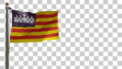 Balearic Islands Flag on Flagpole with Alpha Channel - 4K